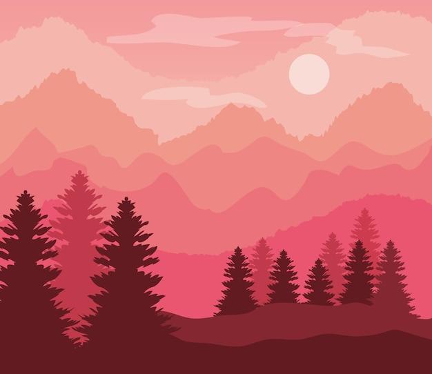 소나무와 산 핑크 풍경입니다.