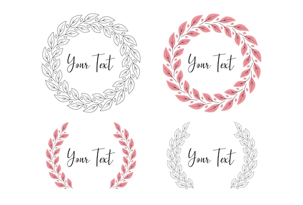 Pink leaf flower foliage wreath laurel vector circle frame border monogram
