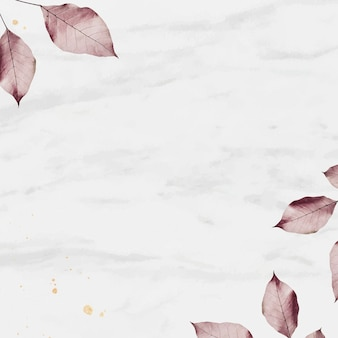 Pink leaf on marble textured background