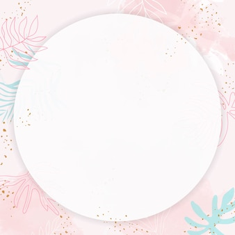 Pink leafy round watercolor frame