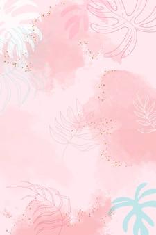 핑크 잎이 수채화 배경 벡터