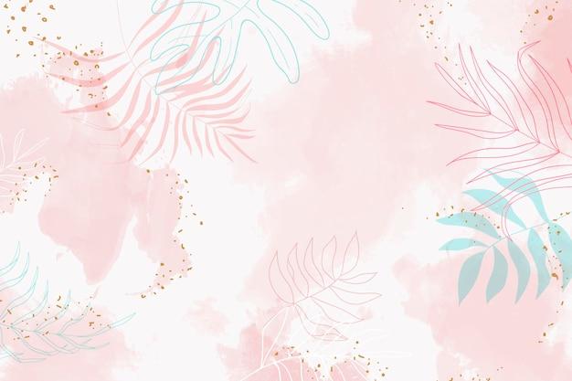 ピンクの葉っぱの水彩背景ベクトル