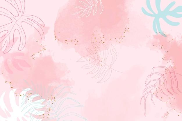 ピンクの葉の水彩画の背景