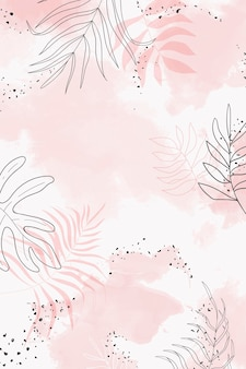 Розовый листовой акварельный фон