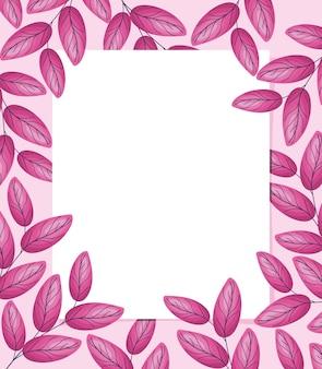 ピンクの葉のフレーム