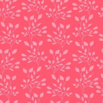 Pink leaves seamless pattern nature leaf wallpaper.