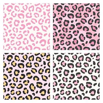 Набор бесшовные шаблоны розовый леопард