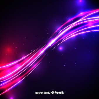 Pink light wave effect with particles