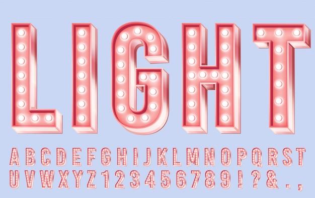ピンクの照明フォント。アルファベット、レトロな数字と文字イラストの明るい電球ライト