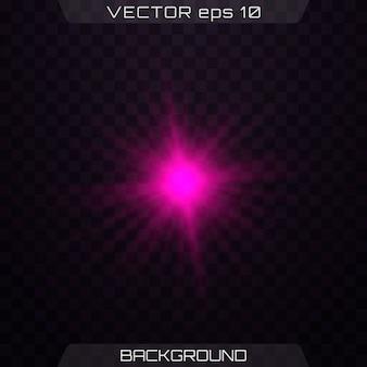 透明な背景にピンクのライト。光の効果のセット。孤立した光の輝き、レンズフレア、爆発、キラキラ、ライン、太陽のフラッシュ、火花、星。