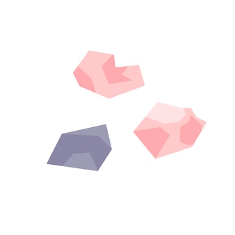 Pink and lilac simple crystals on a white background. magic, witchcraft, jewelry, treasures. hand drawn vector isolated single illustration.