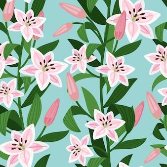 グリーンとピンクのユリの花柄の葉