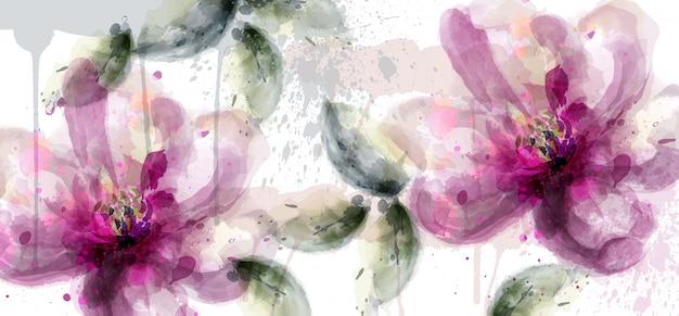 ピンクのユリの花バナー水彩画