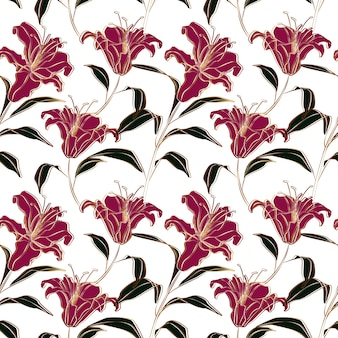 Pink lily flowers seamless pattern