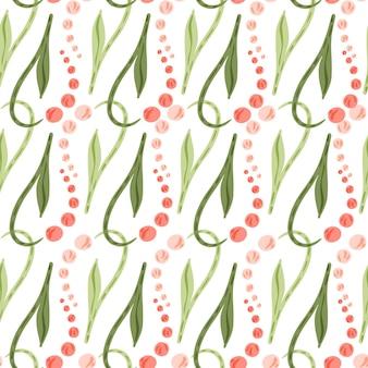 ピンクのスズランの花と緑の葉のシームレスなパターン。孤立した背景。白色の背景。ストックイラスト。テキスタイル、ファブリック、ギフトラップ、壁紙のベクターデザイン。