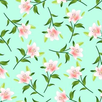 Розовая лилия на фоне зеленой мяты