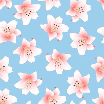 Розовая лилия на светло-голубом фоне