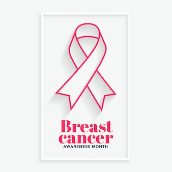 Pink line ribbon breast cancer awareness month poster