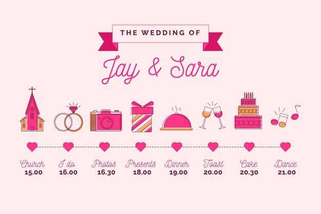 Pink lineal style of wedding timeline chart