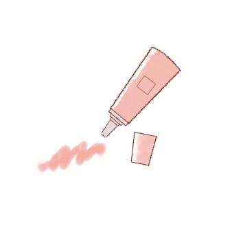 핑크 립. 귀엽고 심플한 아트 스타일. 흰색 배경에.