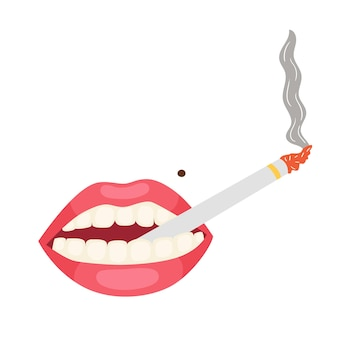 Pink lips cigarette mouth