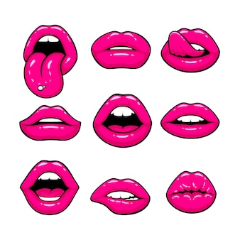 Pink lips, a collection of different shapes. vector illustration Premium Vector
