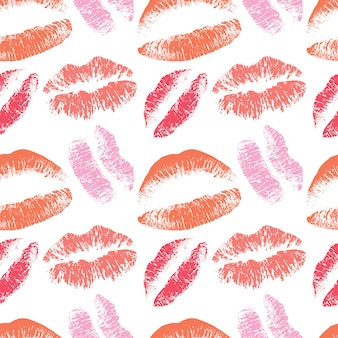 Pink lips kiss seamless pattern for valentines day february background
