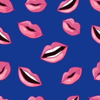 Pink lips pattern. illustration