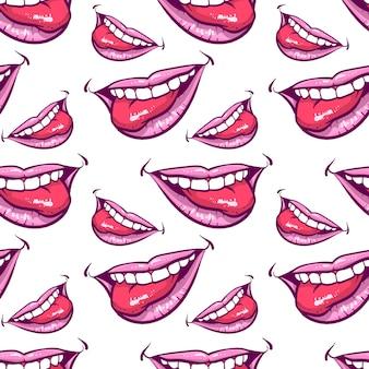 ピンクの唇のシームレスなパターン