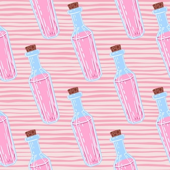 Pink liquids in blue bottle seamless pattern. striped pink background.
