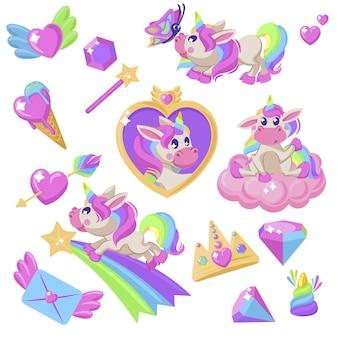 핑크 작은 유니콘 만나고 배지 그래픽 심장 아이스크림 다이아몬드 왕관 나비 무지개 벡터