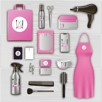 Pink logo on items in beauty salon.
