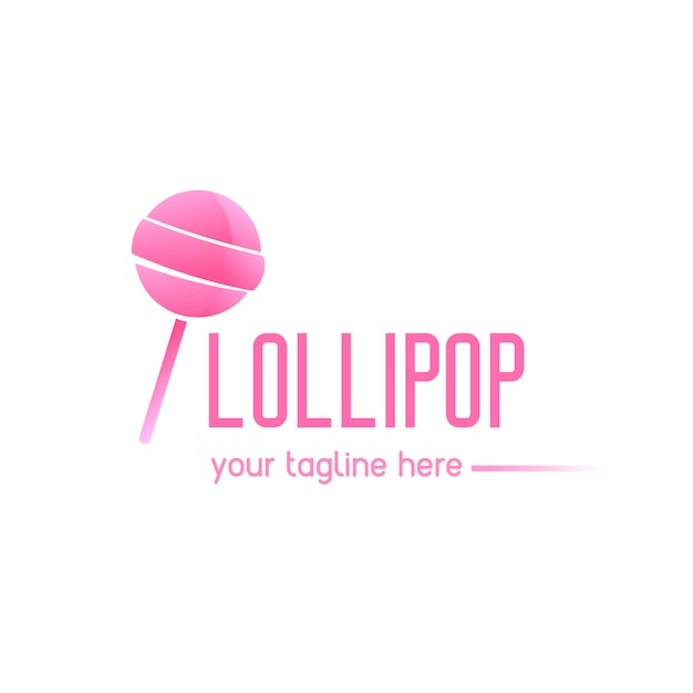 Pink logo with a lollipop