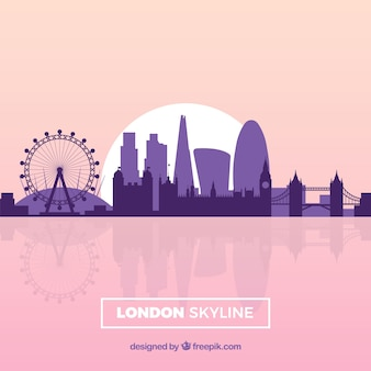 Skyline di londra rosa