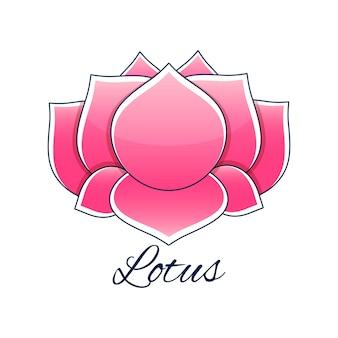 Розовый цветок лотоса в мультяшном стиле с логотипом надписи лотоса