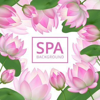 Pink lotus flowers background. invitation healing to garden. lotus wedding card vector template