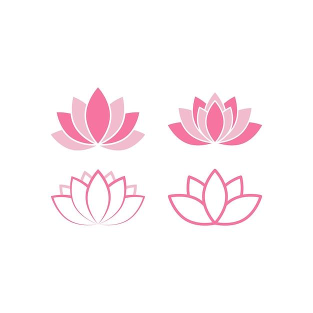 ピンクの蓮のアイコンセットデザインイラスト分離