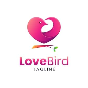 ピンクの愛の鳥のロゴのテンプレート
