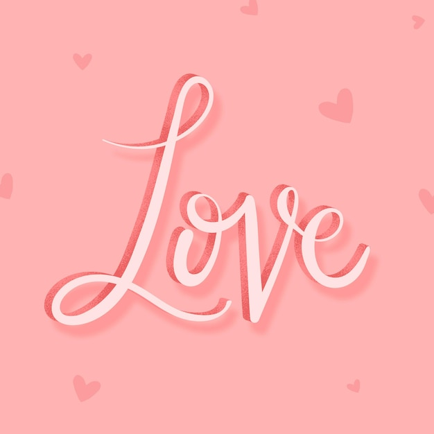 Pink love calligraphy word