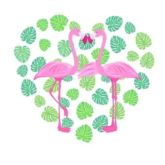 Pink love flamingo valentines day tropical bird bird of paradise stock vector illustration