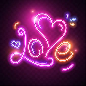 Pink love neon on dark background. glowing neon