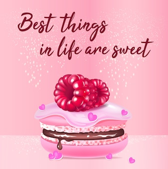 Pink macaroon realistic product social media post template. almond biscuit with berries 3d ads mockup design with text. best things in life are sweet promotional square web banner layout