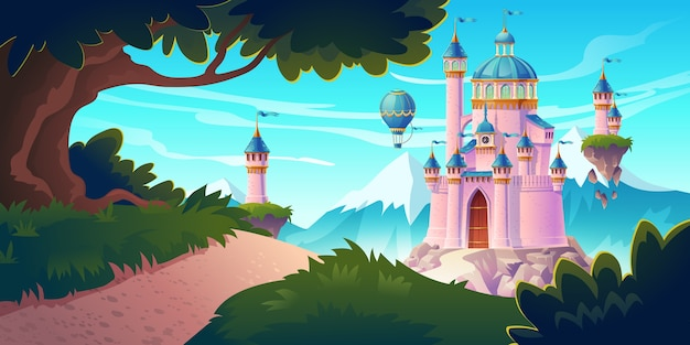 Pink magic castle, princess or fairy palace at mountains with rocky road lead to gates with flying turrets and air balloons in sky. fantasy fortress, medieval architecture. cartoon illustration