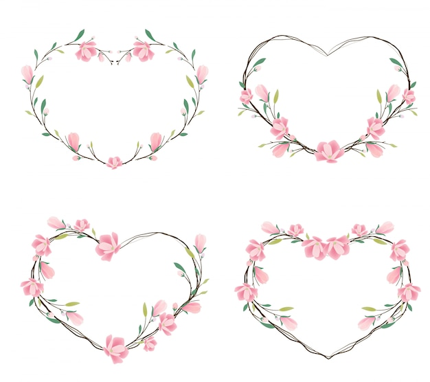 Pink magnolia heart wreath frame
