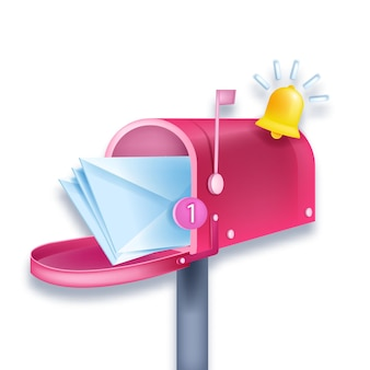 Pink mailbox 3d notification illustration, newsletter, envelopes, number one, bell isolated on white.