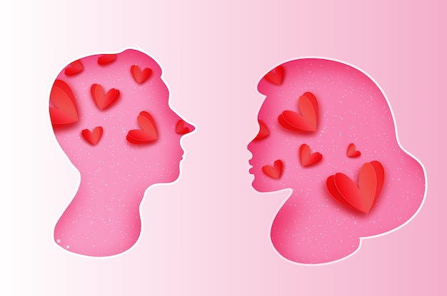 ピンクの男性と女性のシルエット