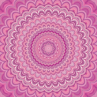Pink mandala fractal ornament background - round symmetrical vector pattern graphic design from concentric ellipses