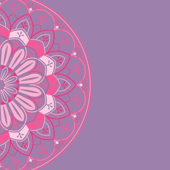 Pink mandala pattern on purple background