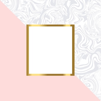 Pink and marble geometric card  with gold frame