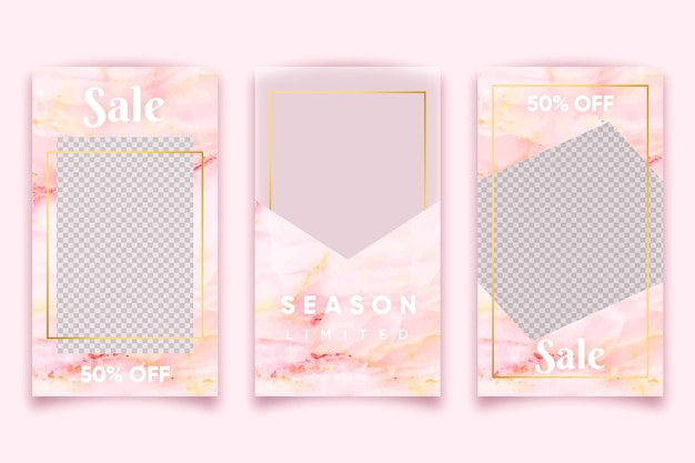 Pink marble style for selling products on instagram stories collection